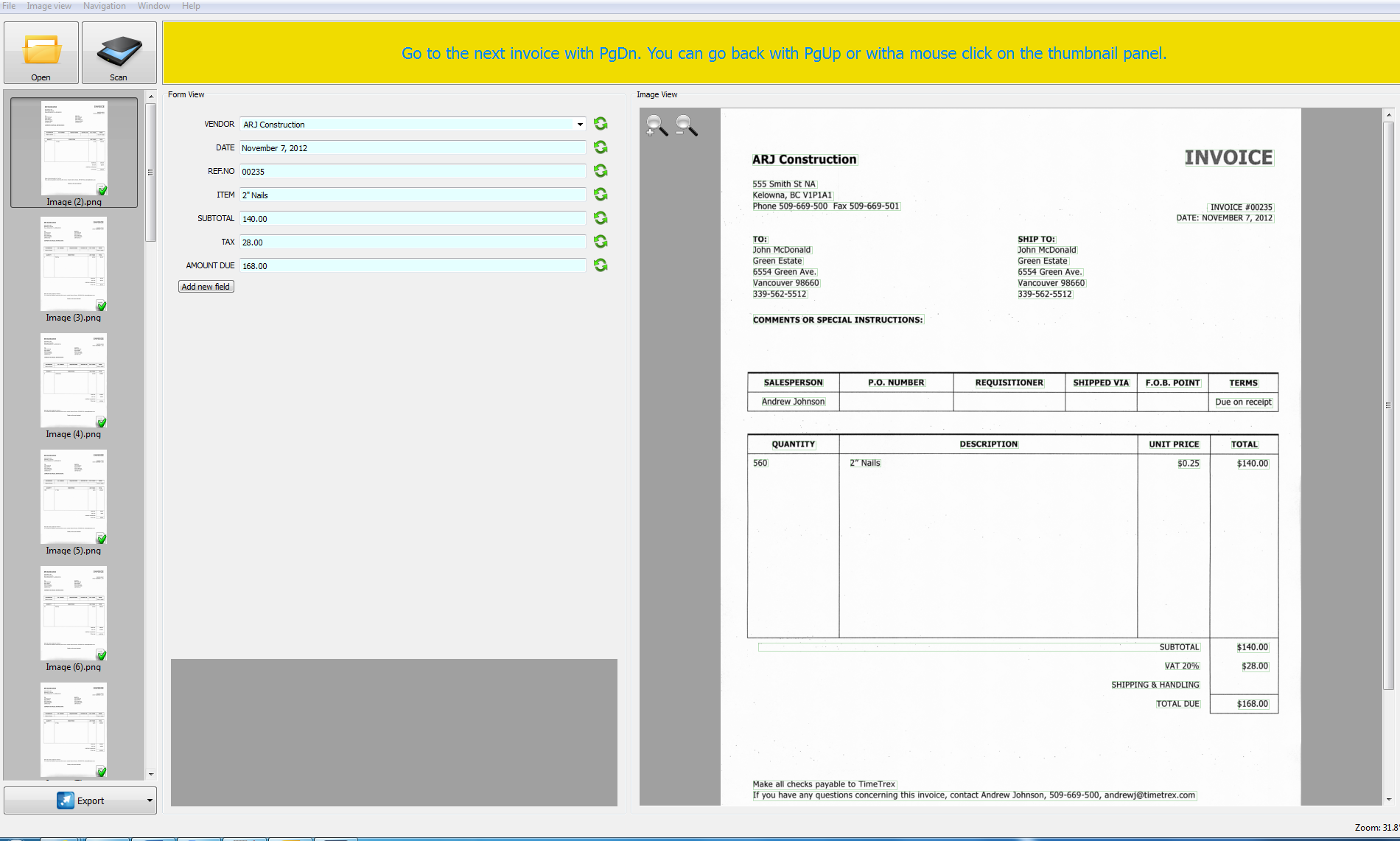 SmartSoft Invoice Scanning screen shot