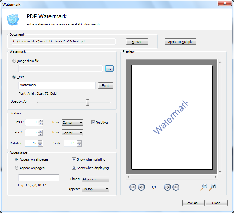 Smart pdf tols screenshots see pdf tools in action for Pdf document watermark